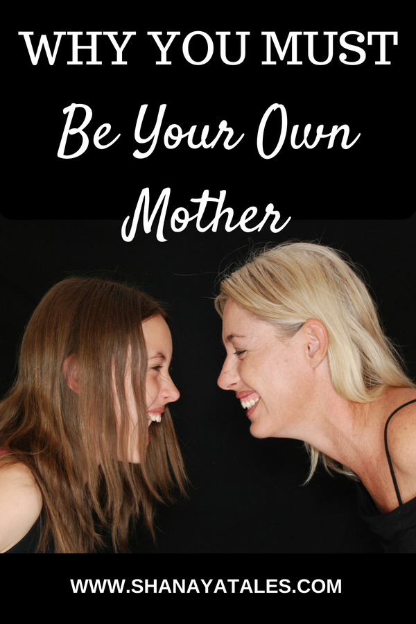 smiling mother daughter facing each other with text overlay on black background